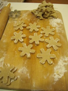 Welsh cake dough cut into snowflake shapes