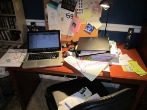 Messy desk with papers